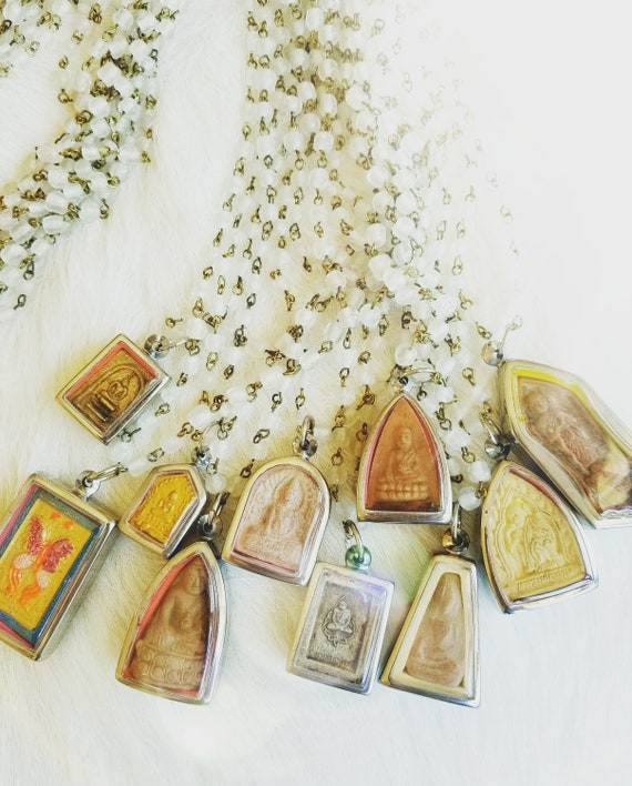 Long, Milk Glass Beaded and Tibetan Amulet Necklaces