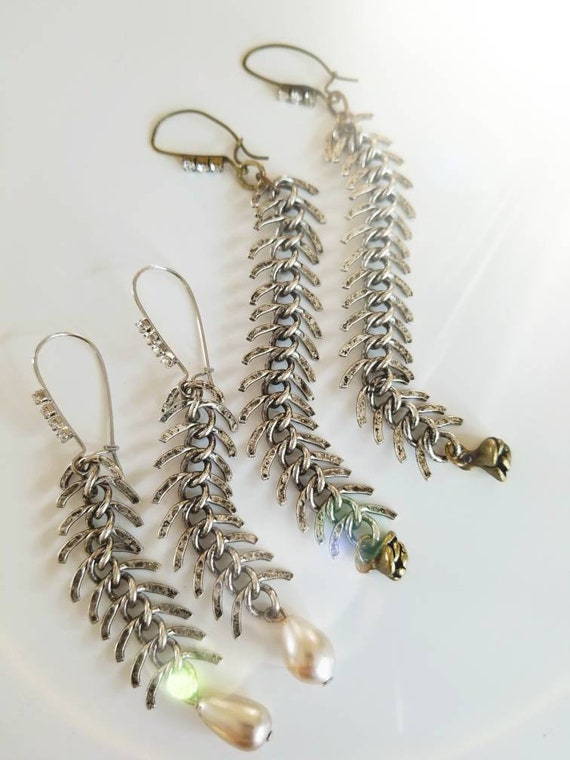 Repurposed Fishbone Silver Chain Earrings