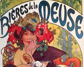 Mucha Beer Biere Meuse Lady Flowers Paris Vintage Poster Repro FREE SHIPPING
