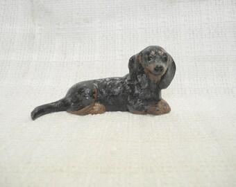 Dachshund Dapple Figurine Small Wiener Dog Figure Doxie Collectible