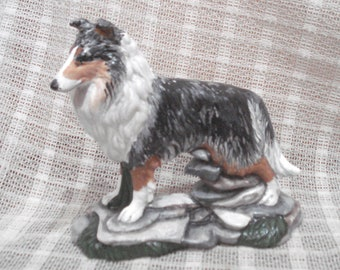 Rough Collie Figurine Blue Merle Lassie Dog Figure Collectible Hand-painted KKay