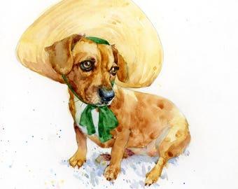 Custom Dog in Hat Portrait