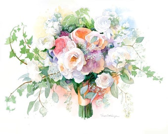 Custom Bridal Bouquet Painting in Watercolor