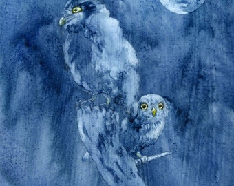 Owlets in Moonlight - Original Watercolor