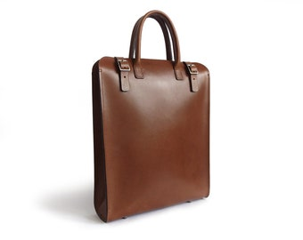 Medium Brown Leather Tote with removable Pouch
