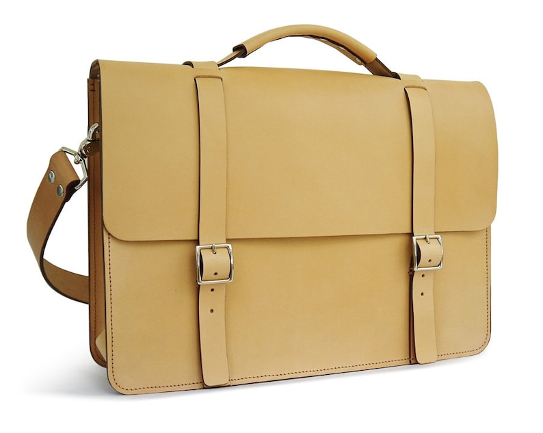 02c5a15a08a9 Natural veg-tan Leather Messenger Bag / Briefcase