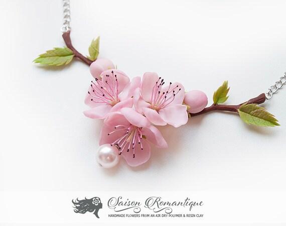 Handmade Ceramic Cherry Blossom Necklace