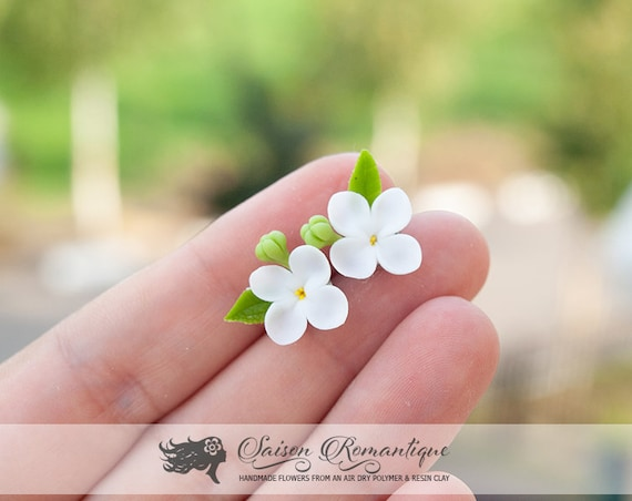 Syringa White earrings! hand sculpted and painted