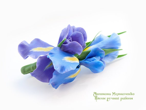 Brooch Iris Mothers Day Gift for Women Gift For Her Flower Iris Blue Irises Polymer Clay Flowers