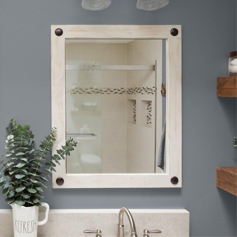 Farmhouse Bathroom Vanity Mirror 24 X 31 White Etsy