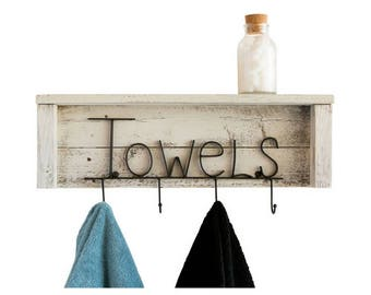 Towels Rack with Shelf on Reclaimed Wood - Whitewash