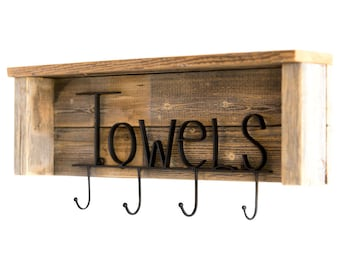 Towels Rack with Shelf on Reclaimed Wood - Natural