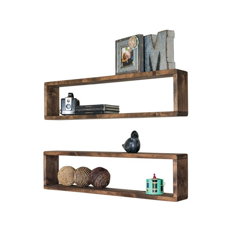 Set Of 2 Long Box Shelves Stackable Made From Solid Wood