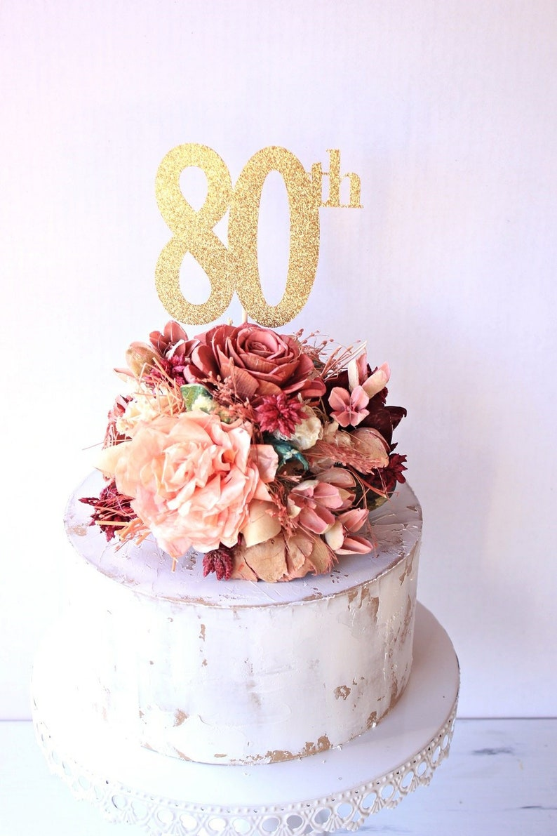 80th Birthday Cake Topper Decorations Celebration 80 Cut Out Number Decor Glitter