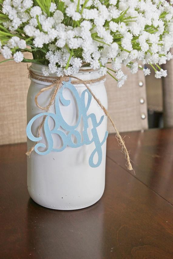 Oh Boy Decorations Baby Shower Mason Jar Tags Oh Boy Etsy
