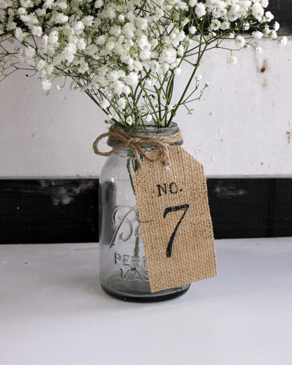 Wedding Table Numbers / Burlap Table Tags / Rustic Table