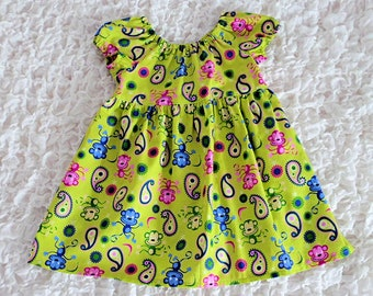 Dress, Girls Dress, Toddler Dress, Baby Dress, Monkey Print, Party Dress, Lime Dress, Handmade Dress, Girls Clothing, Cotton dress, Frock