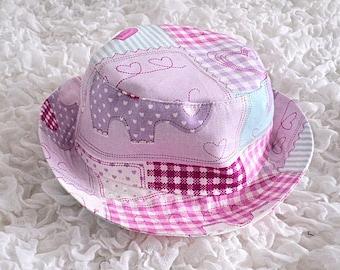 Sun Hat, Child's Hat, Bucket Style Hat, Girl's Hat, Cotton Hat, Patchwork Print, Beach Hat, Holiday Hat, Toddler Hat, Baby Sun Hat, Pink Hat