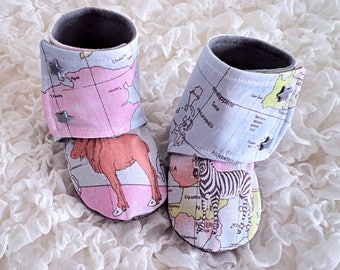 Map print etsy baby stay on boots world map print babies fabric boots soft sole shoe animal boots babies first shoes baby gift pre walker boots gumiabroncs Image collections