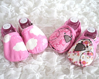 Pink Baby Shoes, Baby Slippers, Baby Girl Shoes, Baby Shower Gift, Pink Fabric Shoes, Handmade Shoes, Bird Print, Cloud Print, Pink Cotton