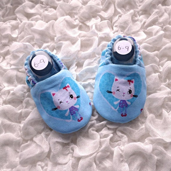 80b8baf33579c Baby Shoes, Baby Slippers, Baby Footwear, Baby Girl, Flower Cat Print, Blue  Shoes, Baby Gift, Soft Sole Shoe, First Shoes, Fabric Shoes
