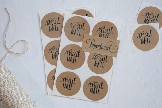 12 rustic kraft snail mail stickers kraft stickers envelope etsy
