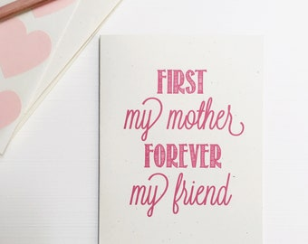 Rustic Mother's Day Card, Card for Mom, Greeting Card, Stationery, Stationary, Mom Everything, forever my friend
