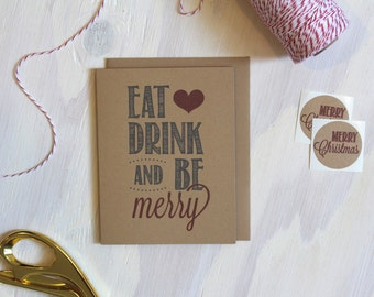 Rustic Kraft Eat Drink and Be Merry Christmas Greeting Card | Holiday Card | Stationery | Stationary | Rustic Greeting Card | Xmas Card