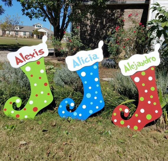 Outdoor Christmas Yard Decorations.One 1 Personalized Christmas Stockings Christmas Stockings Decorations Christmas Yard Art Outdoor Stockings Christmas Stockings