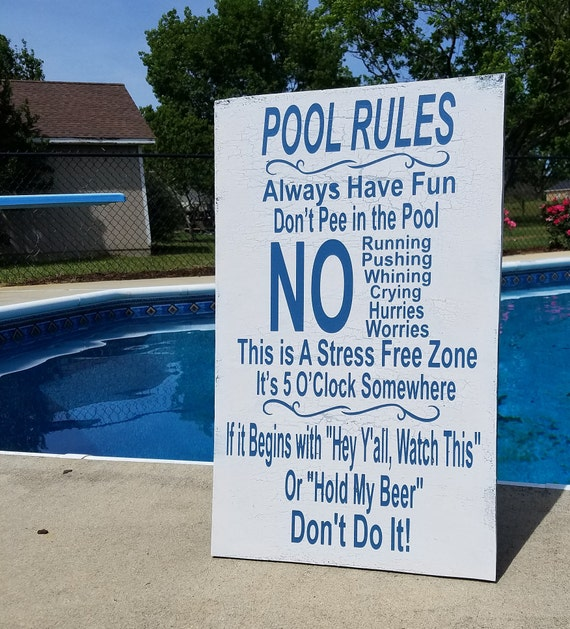 20 X 15 Wood Wall Vintage Pool Rules Sign