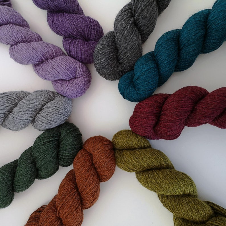 10 skein sweater quantity DK Corriedale Polwarth in 9 colours. image 0
