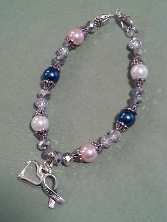Breast Colon And Lung Cancer Awareness Bracelet Etsy