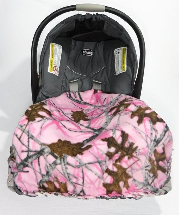Pink Camo No Sew Fleece Blanket Baby Girl Car Seat Camouflage Fleece Blanket Kit Personalize With Embroidery