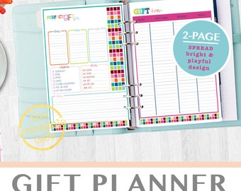 Gift Planner Pages Present Christmas Birthdays PDF Daily Planner Add On - Life Organizer - Digital, Printable - INSTANT DOWNLOAD