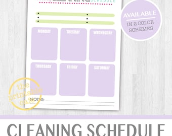 Weekly Cleaning Chart - Chore Chart, Life Organizer, Planner - Bright & Colorful- Digital, Printable - INSTANT DOWNLOAD