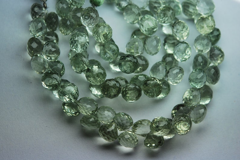 8 Inch Strand,Super Rare AAA Natural GREEN AMETHYST Faceted Onion Shape Briolettes Size 8-9mm