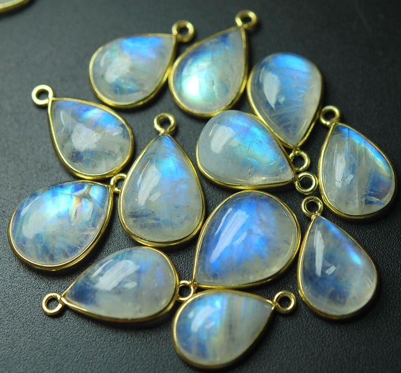 925 Vermeil Sterling Silver,RAINBOW MOONSTONE Smooth Pear Shape Pendant,10 Piece of 18-19mm approx