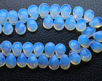 8 Inch Strand,Superb-Finest Quality,Opal BLUE Quartz Faceted Pear Shape Briolettes, 7x10mm size,