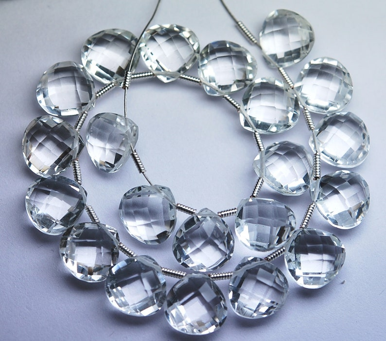 15 Matched Pair of Finest Quality,9mm Size Rock Crystal Quartz Faceted Heart Shaped Briolettes