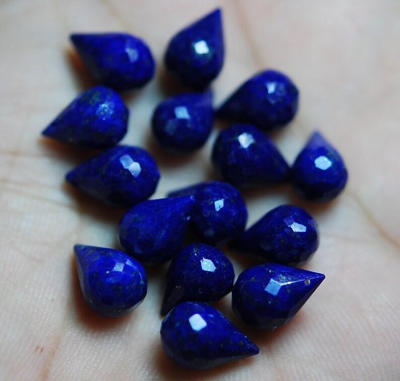 50 Pieces Lapis Lazuli feceted Tear Drops Briolettes 10mm Approx