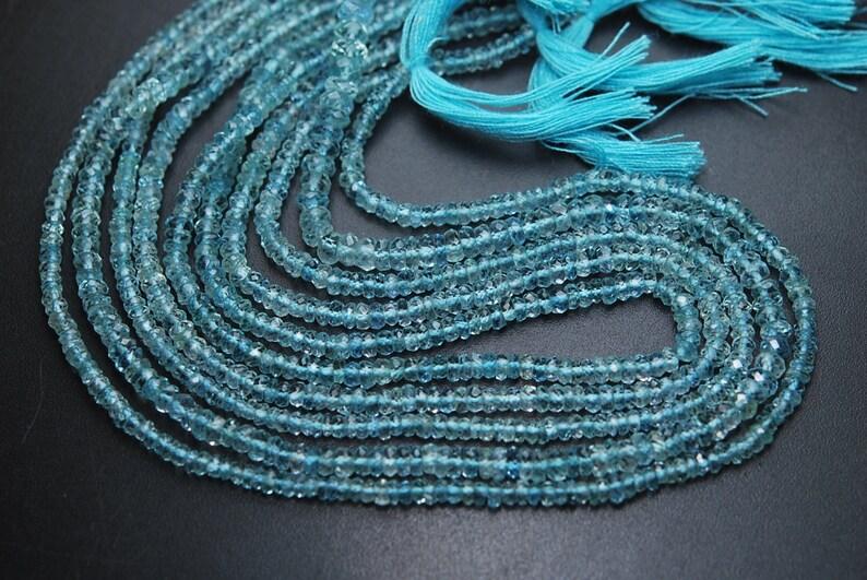 4.5-4m 13 Inch,SUPERB-FINEST Quality,Aquamarine Faceted Rondells