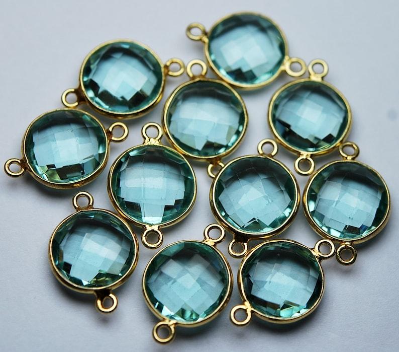 925 Sterling Vermeil Silver,Light Sky Blue Quartz Faceted Coins Shape Pendant Connector,10 Piece of 19mm approx