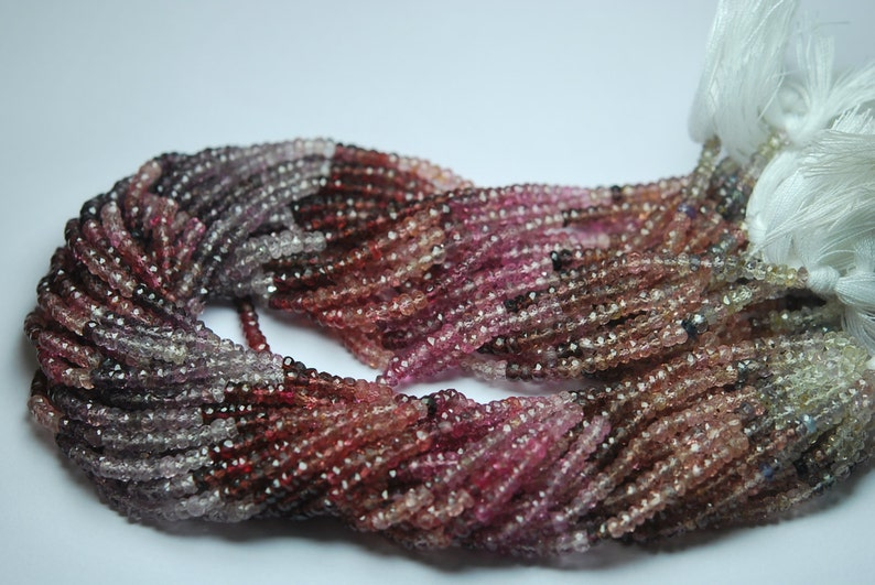 Finest Quality,Natural Multi Spinel Faceted Rondelles Beads 3.5-4mm aprx 13.5 Inch Strand