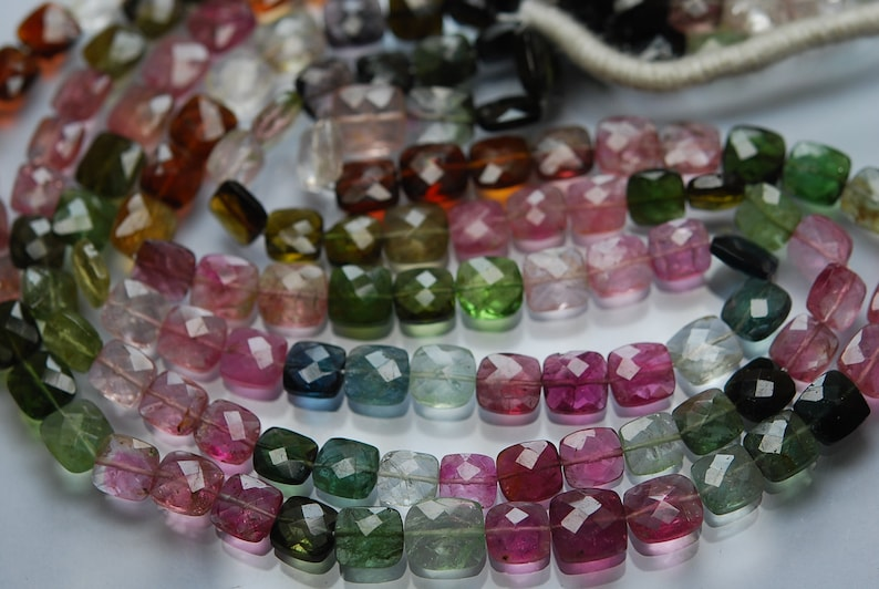 92 Carats,13 Inch strand Super-FINEST,Multi Tourmaline Faceted Cushion Shaped Beads,7-8mm