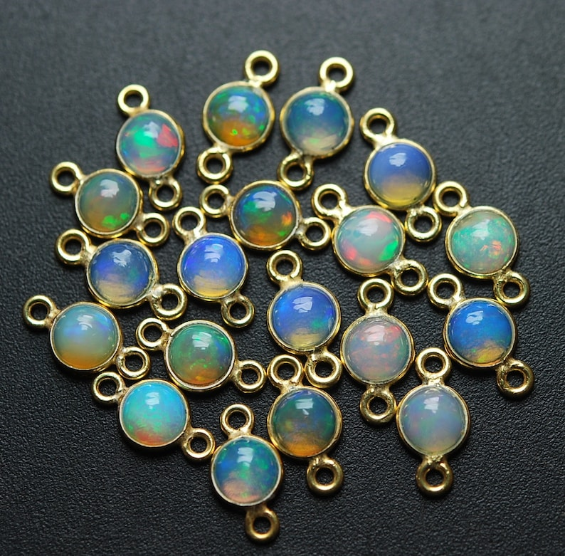 Ethiopian Opal Round Connector,4 Piece of 11mm 925 Sterling Vermeil Silver