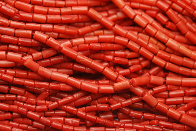 47 Carats,20 Inch Full Strand,NATURAL ITALIAN CORAL Smooth Tube Shape Beads,4-7mm Size,
