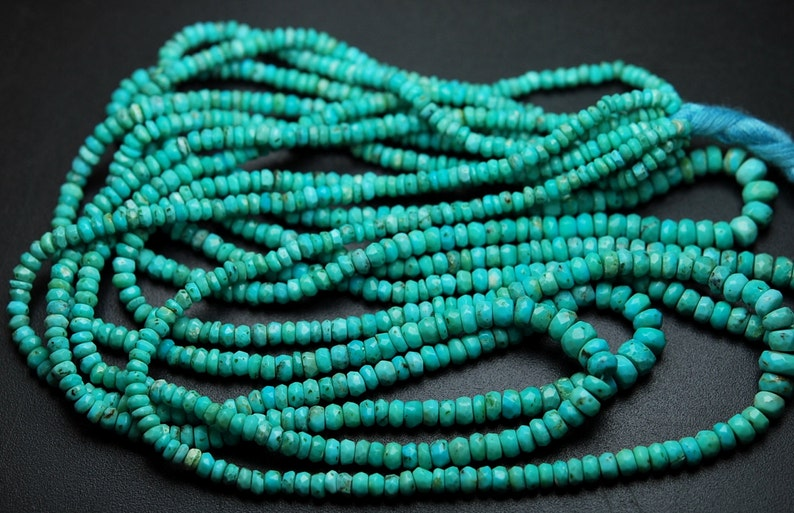 14 Inches Strand,Natural ARIZONA TURQUOISE Faceted Rondelles,Size 3-4mm
