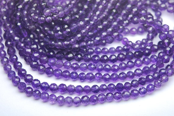 5 x 13 pouces Strand, naturel, Super meilleur violet améthyste Micro à facettes rondes Rondelles, 2,5 à 3mm
