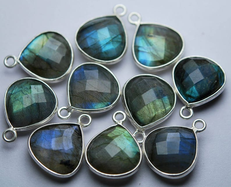 925 Sterling Silver,Labradorite Faceted Heart Shape Pendant,24 Piece of 12mm approx