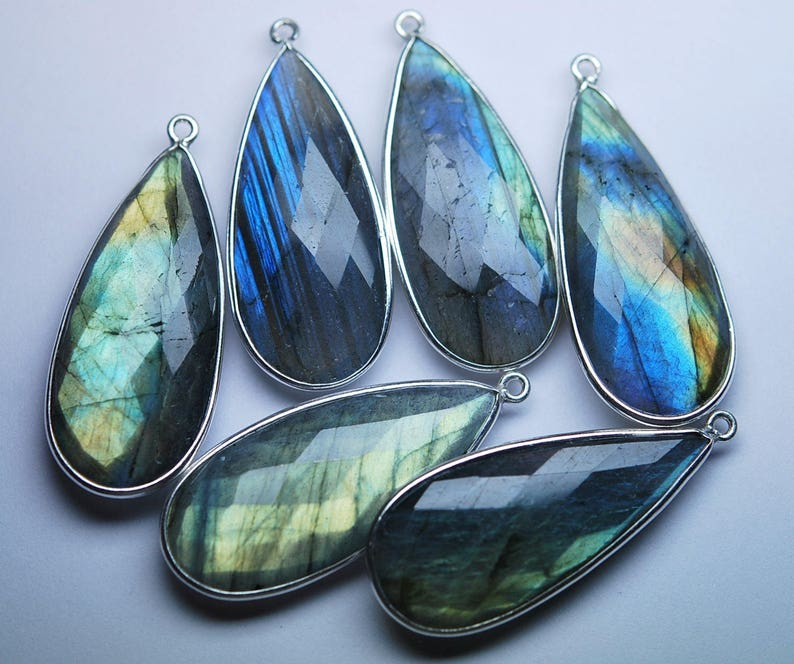 925 Sterling Vermeil Silver,Labradorite Faceted Pear Shape Pendant,6 Piece of 38mm approx